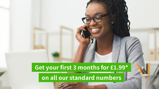 Lady talking on the phone with text over the top saying get your first 3 months for £1.99 on all our standard numbers